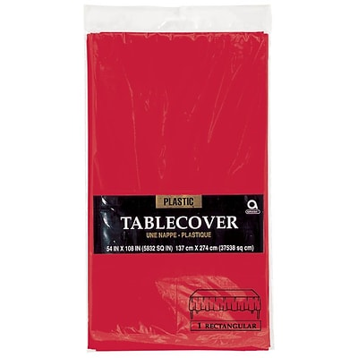 Amscan 54 x 108 Apple Red Plastic Tablecover, 12/Pack (77015.4)