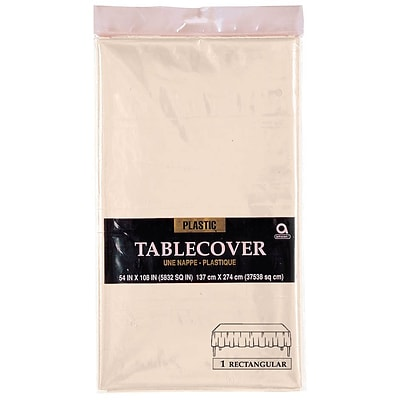 Amscan 54 x 108 Vanilla Creme Plastic Tablecover, 12/Pack (77015.57)