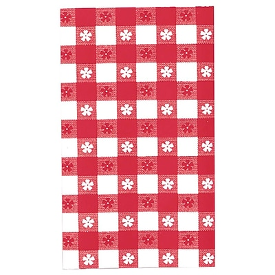 Amscan 54 x 108 Red Gingham Plastic Tablecover, 6/Pack (77016)