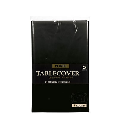 Amscan 84 Black Plastic Round Tablecover, 9/Pack (77018.1)