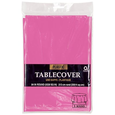 Amscan 84 Bright Pink Plastic Round Tablecover, 9/Pack (77018.103)