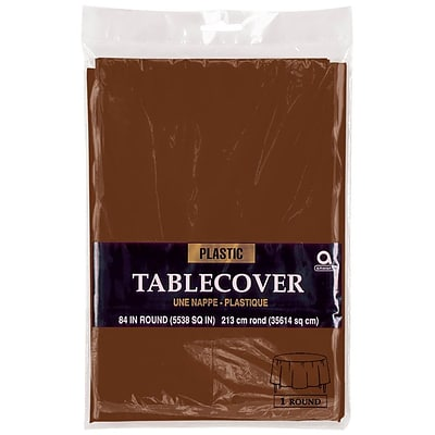 Amscan 84 Brown Plastic Round Tablecover, 9/Pack (77018.111)