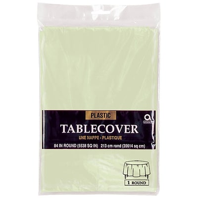 Amscan 84 Leaf Green Plastic Round Table cover, 9/Pack (77018.115)