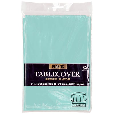 Amscan 84 Robins Egg Blue Plastic Round Tablecover, 9/Pack (77018.121)
