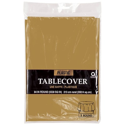 Amscan Plastic Table Cover, 84 Round, Gold, 9/Pack (77018.19)