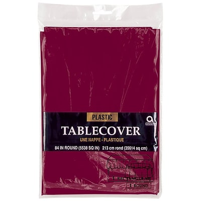 Amscan 84 Berry Plastic Round Tablecover, 9/Pack (77018.27)
