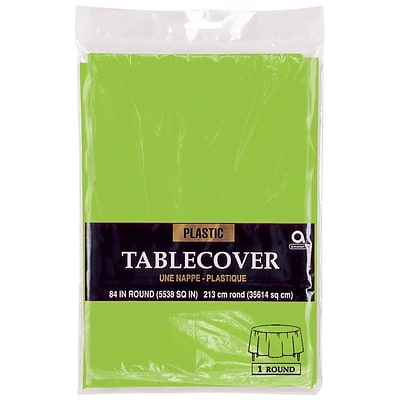 Amscan Plastic Round Table cover, 84, Kiwi, 9/Pack (77018.53)
