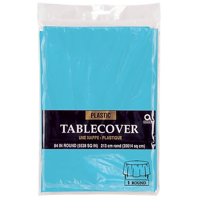 Amscan 84 Caribbean Blue Plastic Round Tablecover, 9/Pack (77018.54)