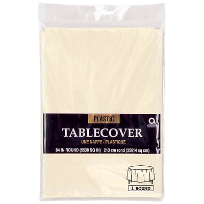 Amscan 84 Vanilla Creme Plastic Round Tablecover, 9/Pack (77018.57)