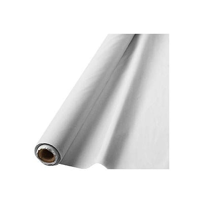 Amscan Plastic Table Roll, 40L x 100W, White (77020.08)