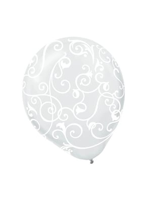 Clear with White Scroll Latex Balloons 12""