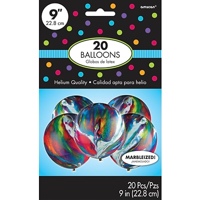 Amscan Marble Latex Balloons, 9, 6/Pack, 20 Per Pack (113054)
