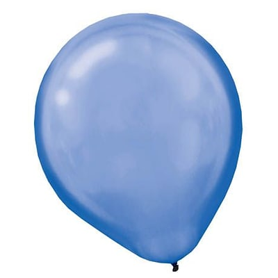 Amscan Pearlized Packaged Latex Balloons, 12, Bright Royal Blue, 3/Pack, 72 Per Pack (113251.105)