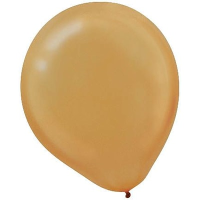 Amscan Pearlized Latex Balloons Packaged, 12, 3/Pack, Gold, 72 Per Pack (113251.19)