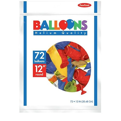 Amscan Pearlized Latex Balloons Packaged, 12, 3/Pack, Assorted, 72 Per Pack (113251.99)