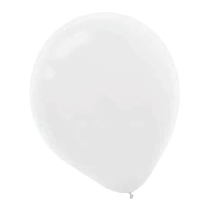 Amscan Solid Color Latex Balloons Packaged, 12 18/Pack, White, 15 Per Pack (113252.08)