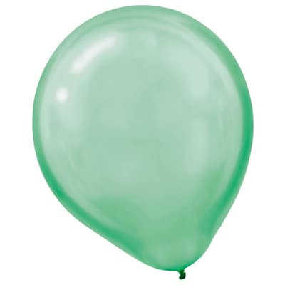 Amscan Pearlized Latex Balloons Packaged, 12, 16/Pack, Festive Green, 15 Per Pack (113253.03)