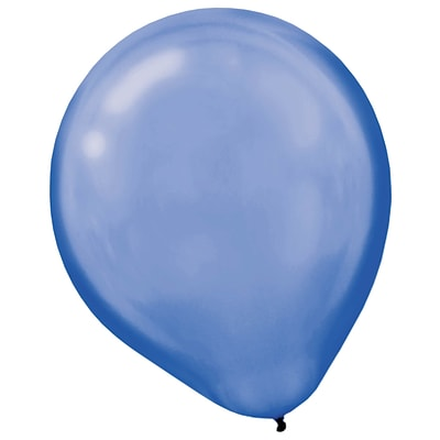 Amscan Pearlized Latex Balloons Packaged, 12, 16/Pack, Bright Royal Blue, 15 Per Pack (113253.105)
