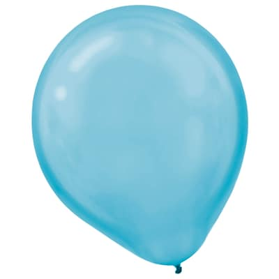 Amscan Pearlized Packaged Latex Balloons, 12, Caribbean Blue, 16/Pack, 15 Per Pack (113253.54)
