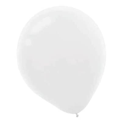 Amscan Solid Color Packaged Latex Balloons, 9, White, 18/Pack, 20 Per Pack (113255.08)