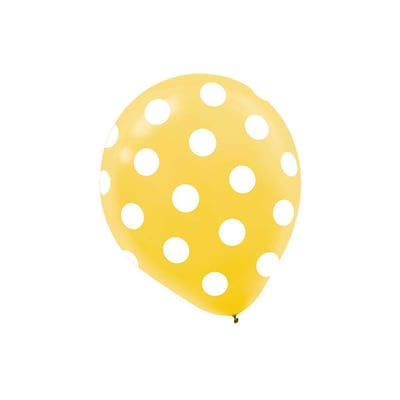 Amscan Polka Dot Latex Balloons, 12, 9/Pack, Yellow, 6 Per Pack (115700.09)