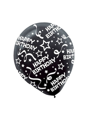 Birthday Confetti Latex Balloons Black