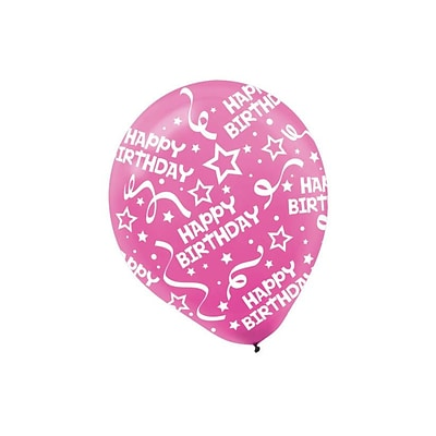 Amscan Birthday Confetti Latex Balloons, 12, 9/Pack, Bright Pink, 6 Per Pack (115800.103)