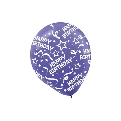 Amscan Birthday Confetti Latex Balloons, 12, 9/Pack, New Purple, 6 Per Pack (115800.106)