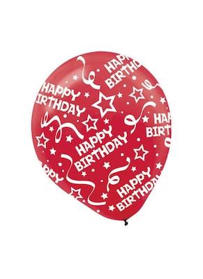 Amscan Birthday Confetti Latex Balloons Red