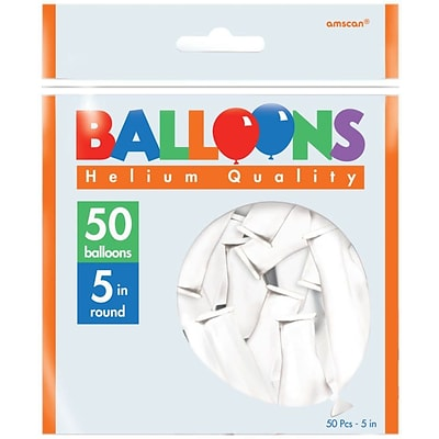 Amscan Solid Color Latex Balloons Packaged, 5, White, 6/Pack, 50 Per Pack (115920.08)
