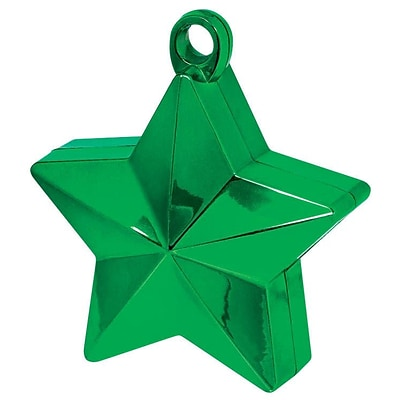 Amscan Star Foil Balloon Weights, 6oz, Green, 12/Pack (117800.03)