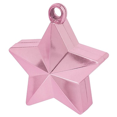 Amscan Star Foil Balloon Weights, 6oz, Pink, 12/Pack (117800.06)