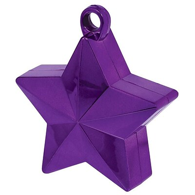 Amscan Star Foil Balloon Weights, 6oz, Purple, 12/Pack (117800.14)