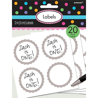 Amscan Scalloped Paper Label Stickers; 2, Silver, 16/Pack, 5 Per Pack (157750.18)
