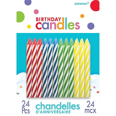 Amscan Spiral Birthday Candles, 2.5, Primary Assorted, 12/Pack, 24 Per Pack (170002.99)