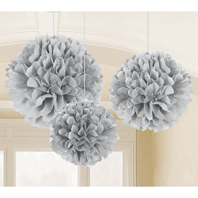 Amscan Fluffy Decorations; 16, 13, 9, Silver, 3/Pack, 3 Per Pack (180025)