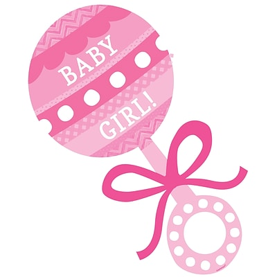 pink baby rattle cutout 15 x7 5 10pk quill com