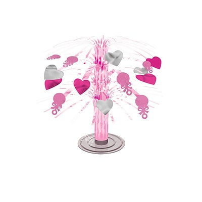 Amscan Mini Foil Baby Shower Centerpiece; Girl, 7.5, 9/Pack (241011)