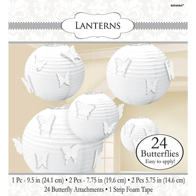 Amscan Paper Lanterns with Butterfly Attachments; White, 2/Pack, 5 Per Pack (248199.08)