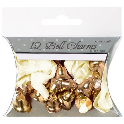 Amscan Double Bell Charms, 0.5, Gold, 5/Pack, 12 Per Pack (340295)