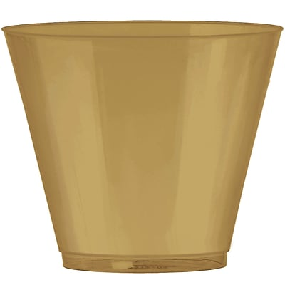 Amscan 9oz Gold Big Party Pack Plastic Cups, 2/Pack, 72 Per Pack (350366.19)