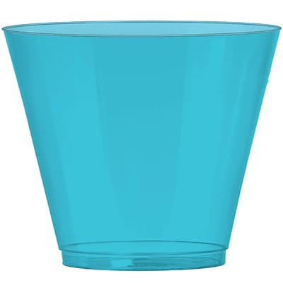 Amscan Big Party Pack Plastic Cups, 9oz, Caribbean Blue, 2/Pack, 72 Per Pack (350366.54)