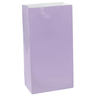 Amscan Paper Bags, 10H x 5.25W x 3D, Lavender, 9/Pack (376000.04)