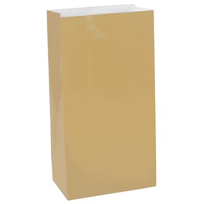 Amscan Paper Bags, 10H x 5.25W x 3D, Gold, 9/Pack (376000.19)