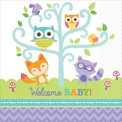 Amscan Woodland Welcome Baby Shower Beverage Napkin; 5 x 5, Multicolored, 8/Pack, 16 Per Pack (501452)
