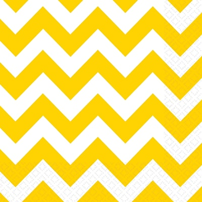 Amscan Chevron Beverage Napkins, 5 x 5, Yellow Sunshine, 8/Pack, 16 Per Pack (501492.09)