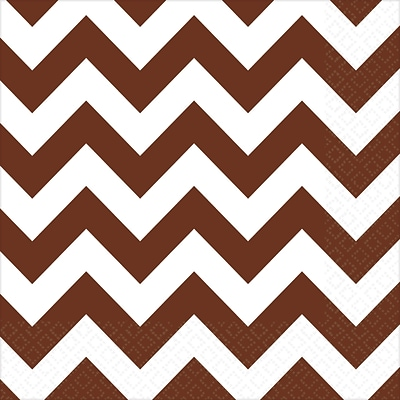 Amscan Chevron Beverage Napkins, 5 x 5, Chocolate Brown, 8/Pack, 16 Per Pack (501492.111)