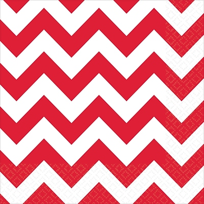 Amscan Chevron Beverage Napkins, 5 x 5, Apple Red, 8/Pack, 16 Per Pack (501492.4)