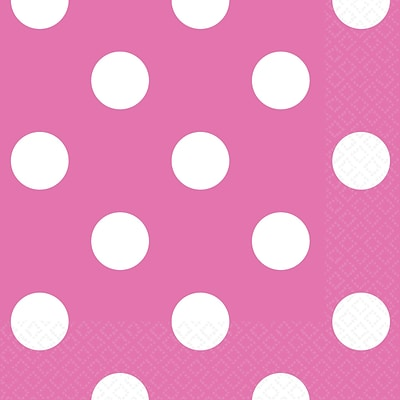 Amscan Polka Dots Beverage Napkins, 5 x 5, Bright Pink, 8/Pack, 16 Per Pack (501537.103)