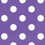 Amscan Polka Dots Beverage Napkins Purple